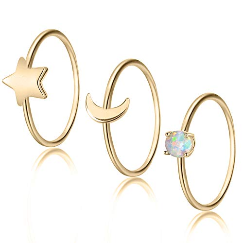 EGOO&YAMEE 3pcs 1mm Plain Band Knuckle Stacking Midi Rings for Women Girls Comfort Fit Size 7 Gold by EGOO&YAMEE