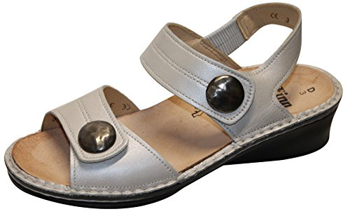 FINNCOMFORT - Sandalias de vestir de charol para mujer Bianco