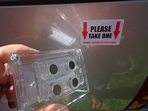 Business Card Holder Car - Source One Clear Lid Magnetic Outdoor Vehicle Business Card Holder Free Exterior (Take One) Sticker Included As Pictured (S1-OBC-MAG)