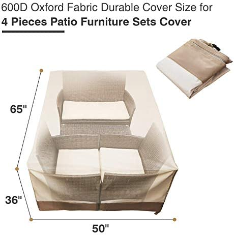 "Andals Patio Furniture Set Covers Outdoor 100% Waterproof 600D Oxford Polyester Durable Heavy Covers Suitable for 4 Pieces Furniture Sets Size 65"" x 50"" x 36"", Beige & Brown"