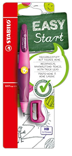 STABILO EASYergo 3,15 1 HB Pencil Sharpener Thick &Ergonomic Mechanical Pencil Left-Handed Rollerball Pen-Pink / Purple