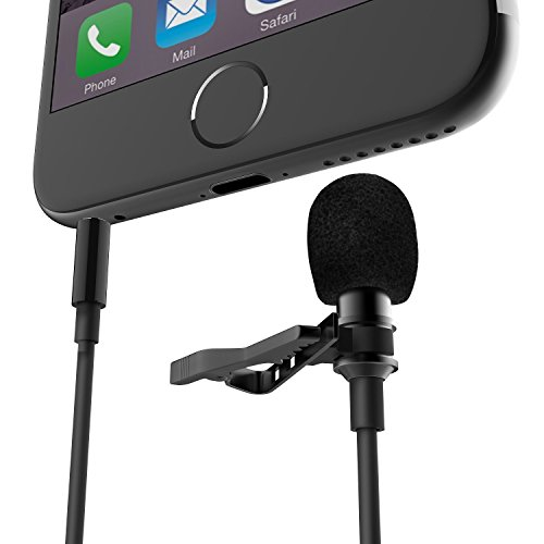 FanRos Enhanced Lavalier Condenser Mic Lapel Clip-on Recording Microphone with Clear Loud Dialog Wind Resistance for iPhone iPad iPod Gopro Samsung HTC Android and Windows Smartphones (Black) ()