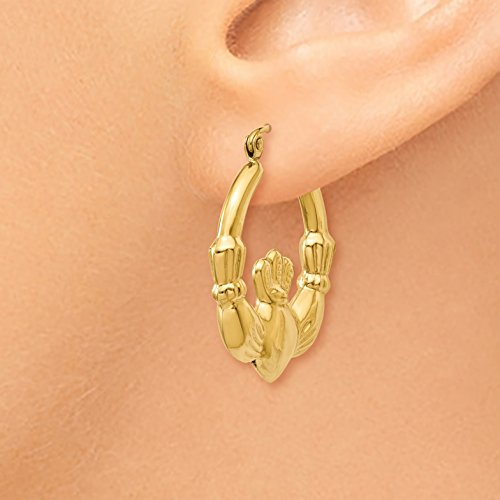 Roy Rose Jewelry 14K Yellow Gold Polished Claddagh Hoop Earrings 27mm length by Roy Rose Jewelry (Image #2)