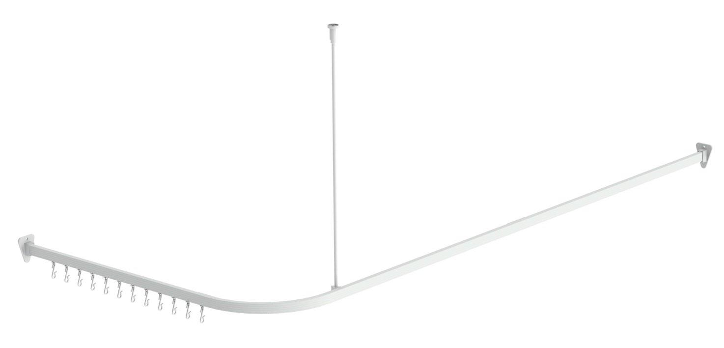 ShowerAuthority Corner Shower Curtain Rod, Track Style, Universal Size, White Finish. FBA_677-10