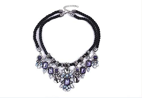 Qiyun Chunky Black Rope Dangle Rhinestone Faceted Charms Flower Bib Choker Necklace Corde Noire Facettes Charmes Fleur Collier W005N1855