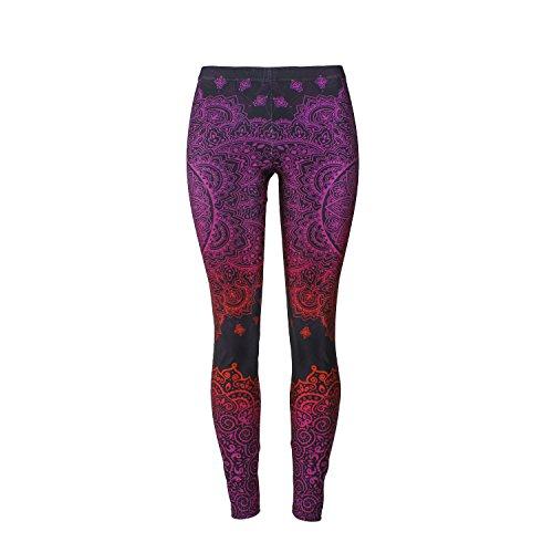 Mad Ink Sexy Tight Pants Mandala Tattoo Digital Full 3D Print Elasticity Leggings Pencil Pants for Women Girls (Oriental Pattern Rose) -