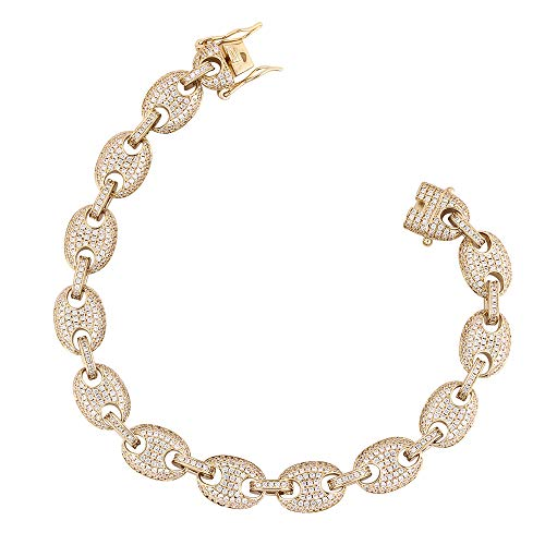 GOLD IDEA JEWELRY 10MM Mens Iced Out Mariner Link Chain 14k Gold Plated Hip Hop Jewelry 8.5''-22'' (14k-Gold-Plated, 8.5)