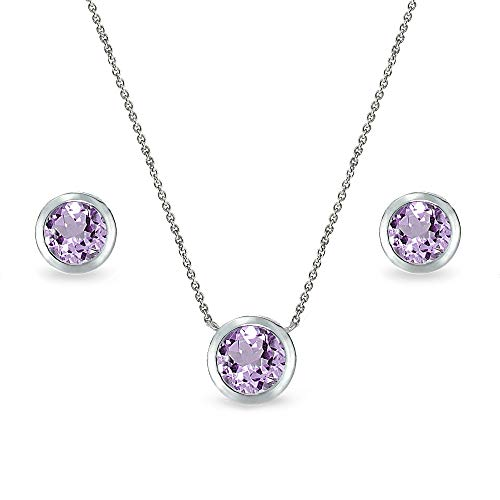 Sterling Silver Amethyst 7mm Round Bezel-Set Solitaire Dainty Necklace and Stud Earrings Set for Women