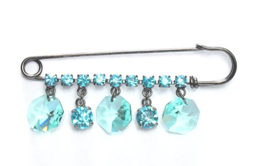 (Swarovski Crystal Kilt Pin Brooch with Aqua Drops in Gun Metal/Kilt Pin by Krystal/Black Plated Swarovski Crystal Fancy Brooch/Aqua Brooches/Kilt Pins Collection for Dresses & Handbags)