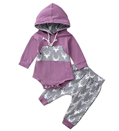 Newborn Baby Boy Girl Long Sleeve Deer Romper Pullover Hooded Tops Pants 2Pcs Sweatshirt Outfits Set (Purple, 12-18 Months) (Hooded Baby Jumper)