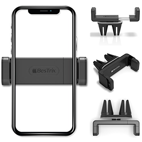 BESTRIX Air Vent Cell Phone Car Mount With Adjustable Size Up To 6'' | Secure Double Clamp Grip, Compact & Durable Holder For All Smartphones & iPhones (Black)
