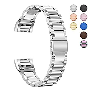 For Fitbit Charge 2 Stainless Steel Replacement Accessory Bands,Oitom premium stainless steel watch band strap for fitbit Charge 2 Smart Fitness Watch (Silver Stainless)