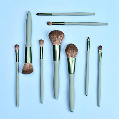 9PCS Cosmetic Eyebrow Eyeshadow Powder Brush Lip Makeup Brushes (Green)
