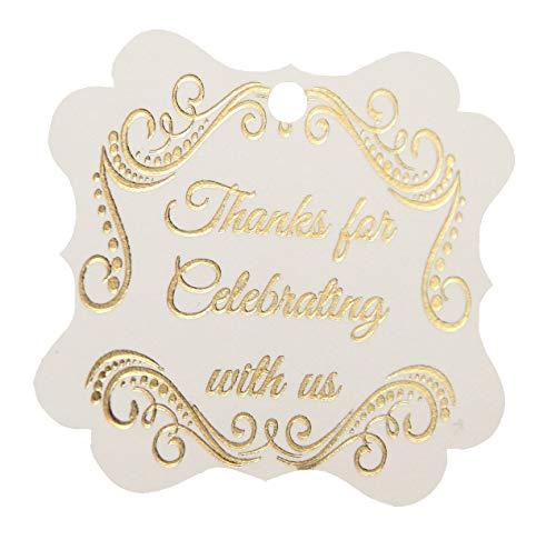 Thank You Tags Gold Foil, Fancy Frame Gift Tags - 30 pack - Wedding Party Collection, Thanks For Celebrating With Us (Tags Frame ()