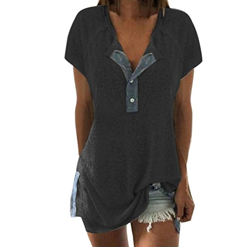 Oksale® Women Short Sleeve Loose Casual Button Blouse T Shirt Tank Tops (Dark Gray B, XL)