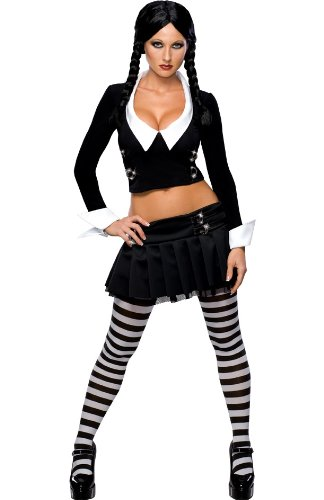 Addams Family Secret Wishes Wednesday Addams Costume, Black, L -