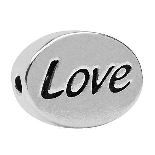 Lead-Free Pewter Message Bead, Love' 11x8mm, 1 Piece, Antiqued Silver