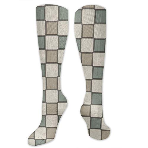 YongColer Men's Women's Casual Socks Abstract Geometry Simple Block Middle and Old Socks Autumn and Winter Sports Socks Adult Socks