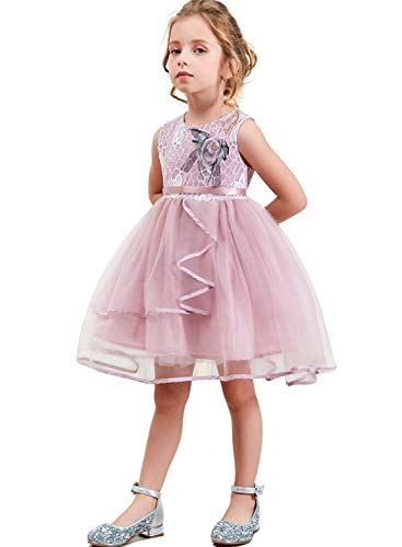 NNJXD Lace Pageant Princess Girls Flower Wedding Party Dresses Size (120) 4-5 Years Flower-Pink -
