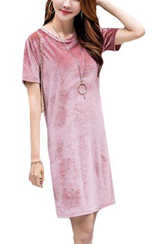 Estate Primavera Estate Bicchierino Vestito Loose Midi Fit manicotto Rosa Primavera Sottile Girocollo donne Coolred qP674wP