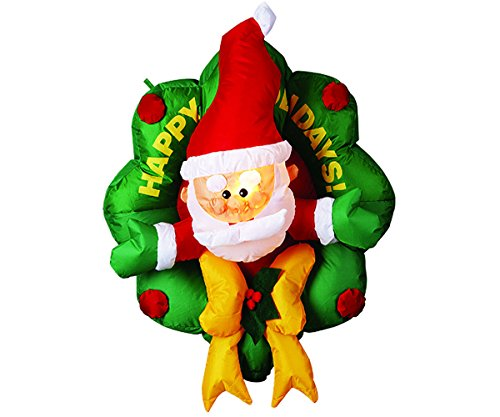 [1 PCS ++ ++ Inflatable Wreath Santa Christmas Lawn Yard Decoration Large Airblown Decor /] (Blow Up Costumes Party City)