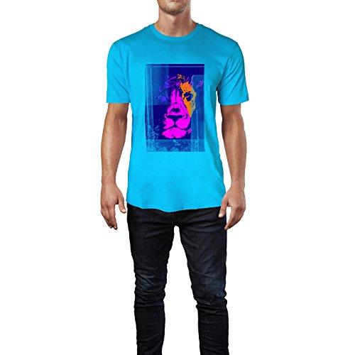 SINUS ART® Löwenkopf in jamaikanischen Farben Herren T-Shirts in Karibik blau Cooles Fun Shirt mit tollen Aufdruck
