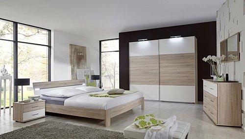 lifestyle4living Schlafzimmer 4-TLG. in Eiche sägerau-Nachb. und Alpinweiß, 2-TRG. Schrank 225 cm, Futonbett 180 x 200 cm, 2 Nachtschrank B. 52 cm