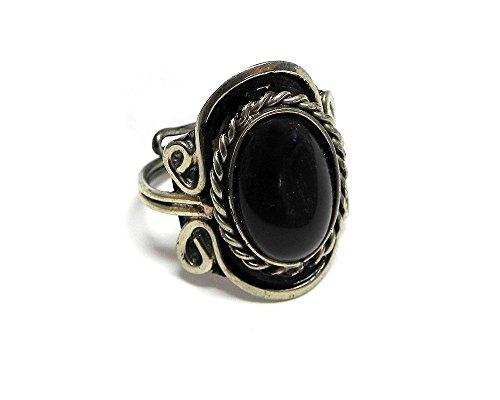 Small Oval Cat's Eye Gemstone Ring (Black) (Ring Cat Gemstone)