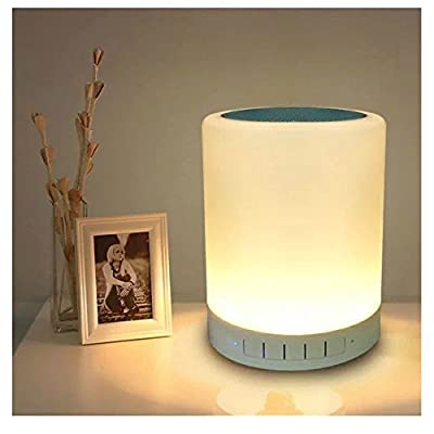 JINBEST Night Light Table Lamp Portable Bluetooth Speaker Touch Control Bedside Lamp Color LED Outdoor Desk Lamp MP3 Music Player Christmas Gifts