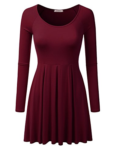 Sleeve with burgundy Awdsd0689 Top Dress Flare Size Long for Raglan Scoop Plus Women Doublju Tunic Neck aPETwq