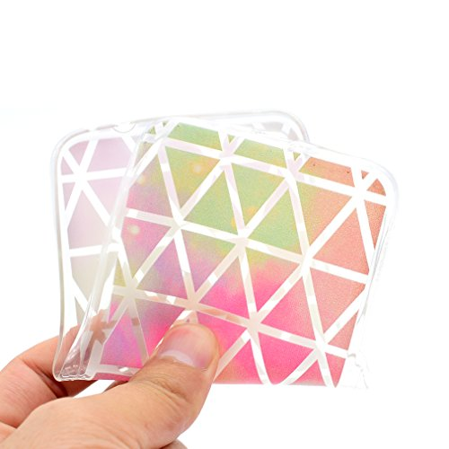 Funda Huawei P8 Lite 2017, Ronger Carcasa Huawei P9 Lite 2017 Transparente Suave Estilo TPU [Patrón Vistoso Nuevo] Caja Protector Liso Funda del Teléfono Móvil Ultra Delgado [Cristal Liquido] Carcasa  Diamante Colorido