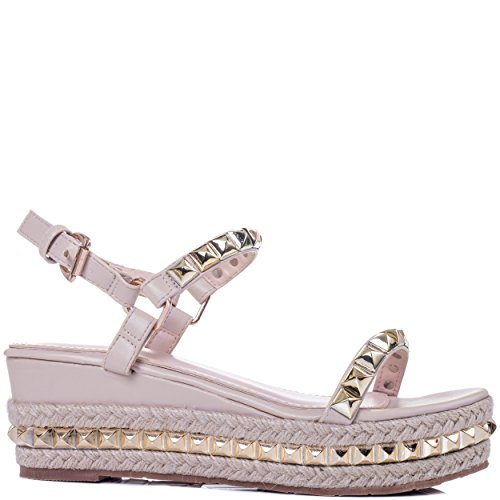 Wedge Studded Platform Sandals Leather Style Women's Spylovebuy Nude Espadrille Babelicious Heel Shoes gHnqYt4