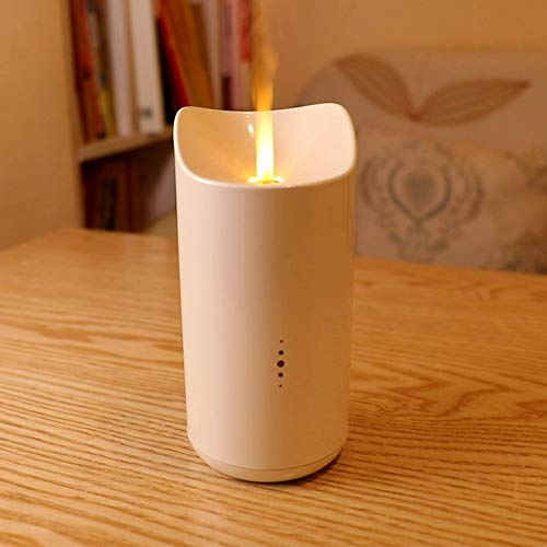 SOLLA USB Aromatherapy Essential Oil Diffuser, 150ml Ultrasonic Cool Mist Humidifier with Candle Light Effect, Wireless Vaporizer with Warm Lights, Built-in UV Sterilizer & Touch Sensor, White