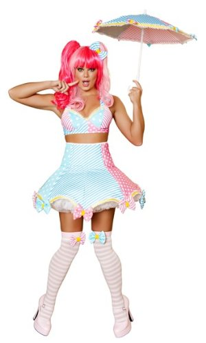 Roma Costume 3 Piece Lady Laughter Costume, Baby Pink/Baby Blue, Medium/Large -