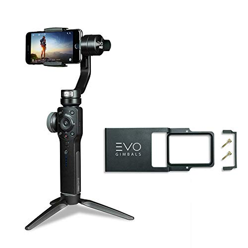 EVO PRO Smartphone Camera Stabilizer with Focus Pull and Zoom for iPhone or Android Phones, Compatible with FiLMiC PRO APP Bundle Includes EVO Pro Gimbal with Action Camera Adapter (2 Items) (Best Dslr App For Android)