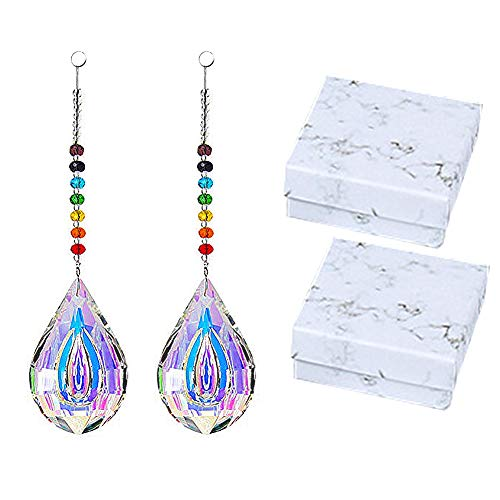 2 PCS Glass Chandelier Crystals, Sun Catcher Crystals Chakra Teardrop Chandelier Crystals Prisms Beads Suncatchers Colorful Lamp Prisms Hanging Crystals for Windows Car with 2 Storage Boxes ()