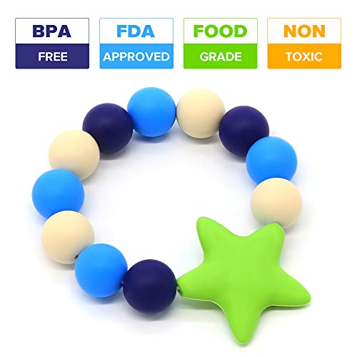 Silicone Teether Bracelet Food-Grade Silicone Teething Ring Baby Toys BPA-Free (Green)