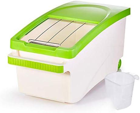 米樽家庭用米貯蔵ボックス、防湿防虫米タンク、完全密閉小麦粉貯蔵ボックス、米ボックス10kg、[プッシュプル型] [20kg]-緑