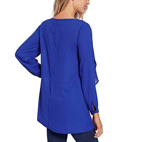 Blouses O Bleu Swing Cou Manches Mode Longues Casual Solide Shirt Volants MuSheng Tops Femmes qRPtOO4