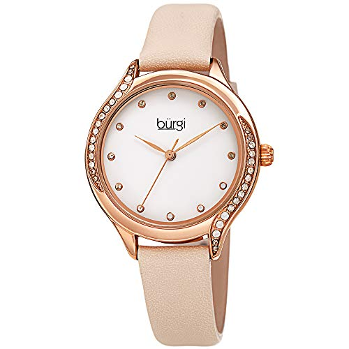 Burgi Swarovski Colored Crystals Women's Watch - Genuine Leather Skinny Strap - Studded Bezel and Dial with Embossed Pattern - Great Mother's Day Gift - BUR239 (Rose Gold)