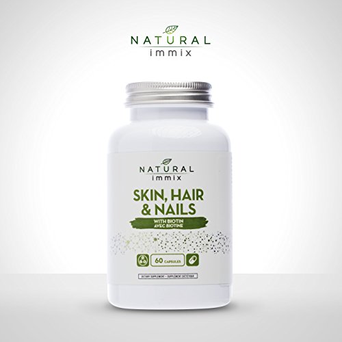 Natural immix - Skin, Hair and Nails, Builds Collagen and Keratin to Improve Dry and Brittle Skin, Hair and Nails, 60 Capsules