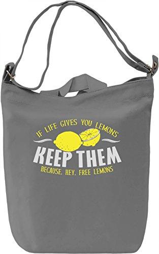 Keep The Lemons Borsa Giornaliera Canvas Canvas Day Bag| 100% Premium Cotton Canvas| DTG Printing|