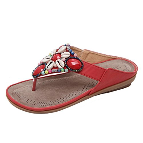 IGEMY Frauen-flache Korn-Böhmen-Freizeit-Pantoffel, Dame Peep-Toe Outdoor Pearl Diamond Sandals Rot
