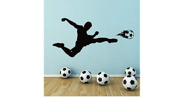 ganlanshu Vinilo para Pared Jugador de fútbol fútbol Tiro con Pelota Pegatina de Vinilo habitación para niños decoración del hogar Dormitorio Adolescente 177cmx85cm: Amazon.es: Hogar