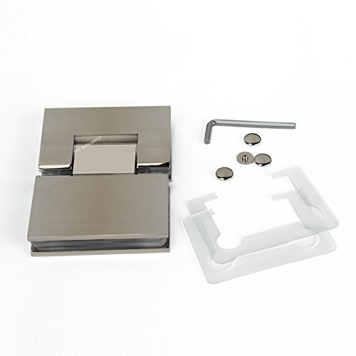 SUNNY SHOWER 180 Degree Pivot Shower Door Square Hinge Glass-to-Glass Brushed Nickel Solid Stainless Steel