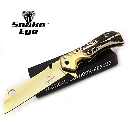 Snake Eye Tactical Heavy Duty Assisted Open Razor Style Folding Pocket Knife Outdoors Camping Hunting Fishing (Bone)