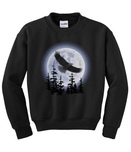 Express Yourself Eagle Moon Crew Neck Sweatshirt (Black - Large) - MENS ()