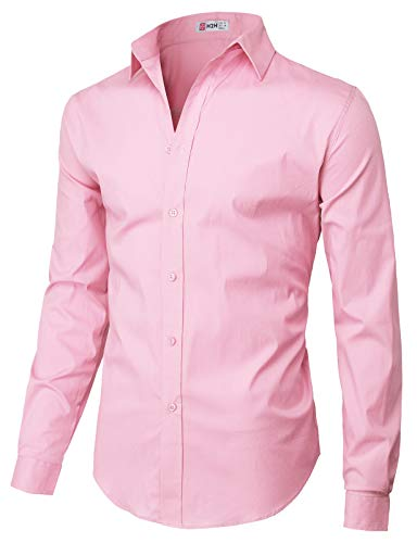 (H2H Mens Casual Slim Fit Button Down Spandex Premium Long Sleeve Shirts Pink US 2XL/Asia 3XL (CMTSTL0134))