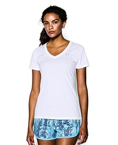 Under Armour Women's Tech V-Neck, White (100), Large