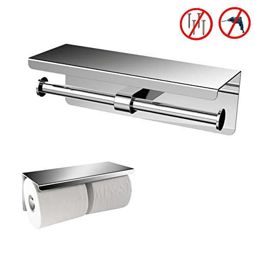 Einfagood Toilet Paper Holder, Tissue Paper Roll Holder, Stainless Steel Double Toilet Paper Towel Dispenser with Removable Traceless Magic (Steel Toilet Paper Holder Cover)
